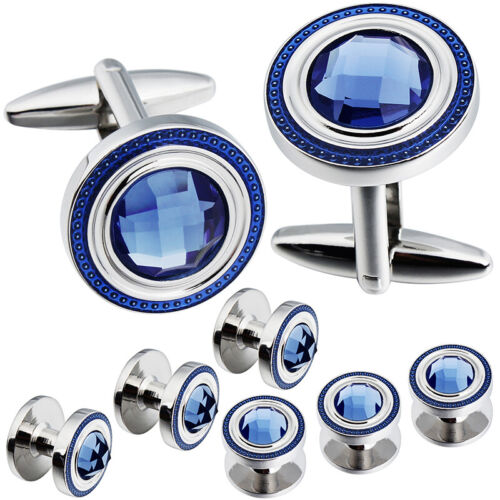 HAWSON Crystal Cufflinks and Studs Sets for Men/'s Tuxedo Shirts with Gift Box
