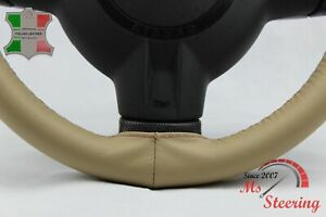FOR LEXUS GX 11-19 BEIGE LEATHER STEERING WHEEL COVER RED STIT