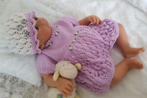 Baby-Girls-or-Reborn-Dolls-DK-Knitting-Pattern-2-TO-KNIT-Romper-Hat-amp-Booties