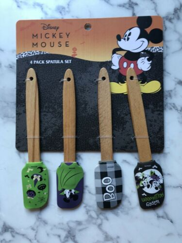 Disney Happy Halloween 4 Piece Spatula Set Mickey Mouse Minnie Mose Boo Fall NEW