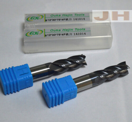 HRC45° φ12×30×75×4F Carbide End Mill Bits Milling Cutter 12mm 4-Flutes (1pcs)