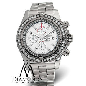 a14a9749c04 Image is loading Diamond-Breitling-Super-Avenger-A13370-White-Face-Diamond-