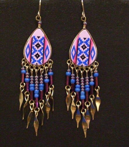 Earrings in Southwest Designs Handcrafted Dangles in Purple Pink and Blue