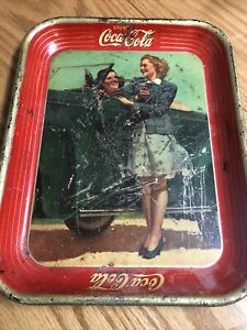 1942 Coca Cola Tray.. Origina .. Its not perfect by any means but its and origin