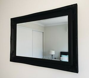 French-provincial-baroque-Matte-Black-beveled-wall-mirror-102cm-x-72cm
