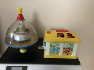 Vintage-Chicco-Toy-Truck-Garage-and-Train-Spin-Wheel-Bundle