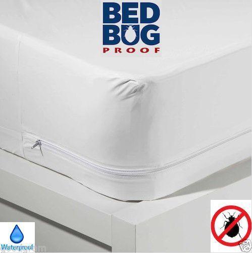 WATERPROOF QUEEN BED BUG Allergen Zippered Vinyl Mattress Cover PROTECTOR