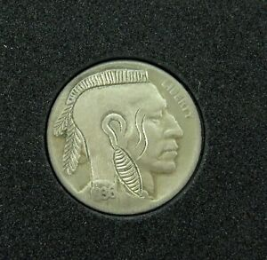 VERY-NICELY-DONE-HOBO-NICKEL-1936-D-MOHAWK-INDIAN-UNSIGNED-12