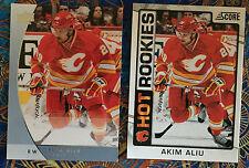 2 Akim Aliu 2012-13 RC Cards Score #535 & UD GTS Promo #P21 Calgary Flames