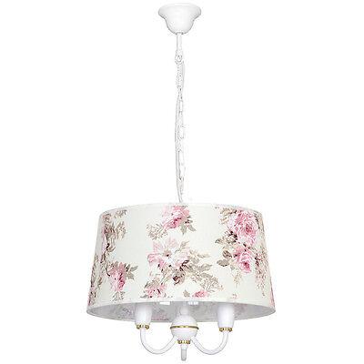 Hängelampe Decken Lampe Deckenleuchte Schirm Blumenmuster Shabby Landhaus Zbx997