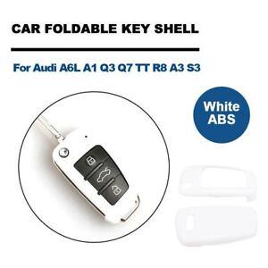Weiss-ABS-Schluessel-Gehaeuse-Autoschluessel-Huelle-Fuer-Audi-A6L-A1-Q3-Q7-TT-R8-A3-S3
