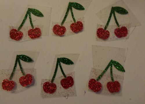 6 pairs of red cherries glitter Hotfix iron on transfers