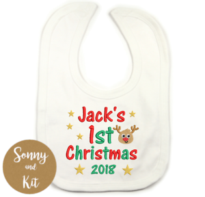 Personalised First Christmas Baby//Toddler Bib ADD ANY NAME Rudolf design