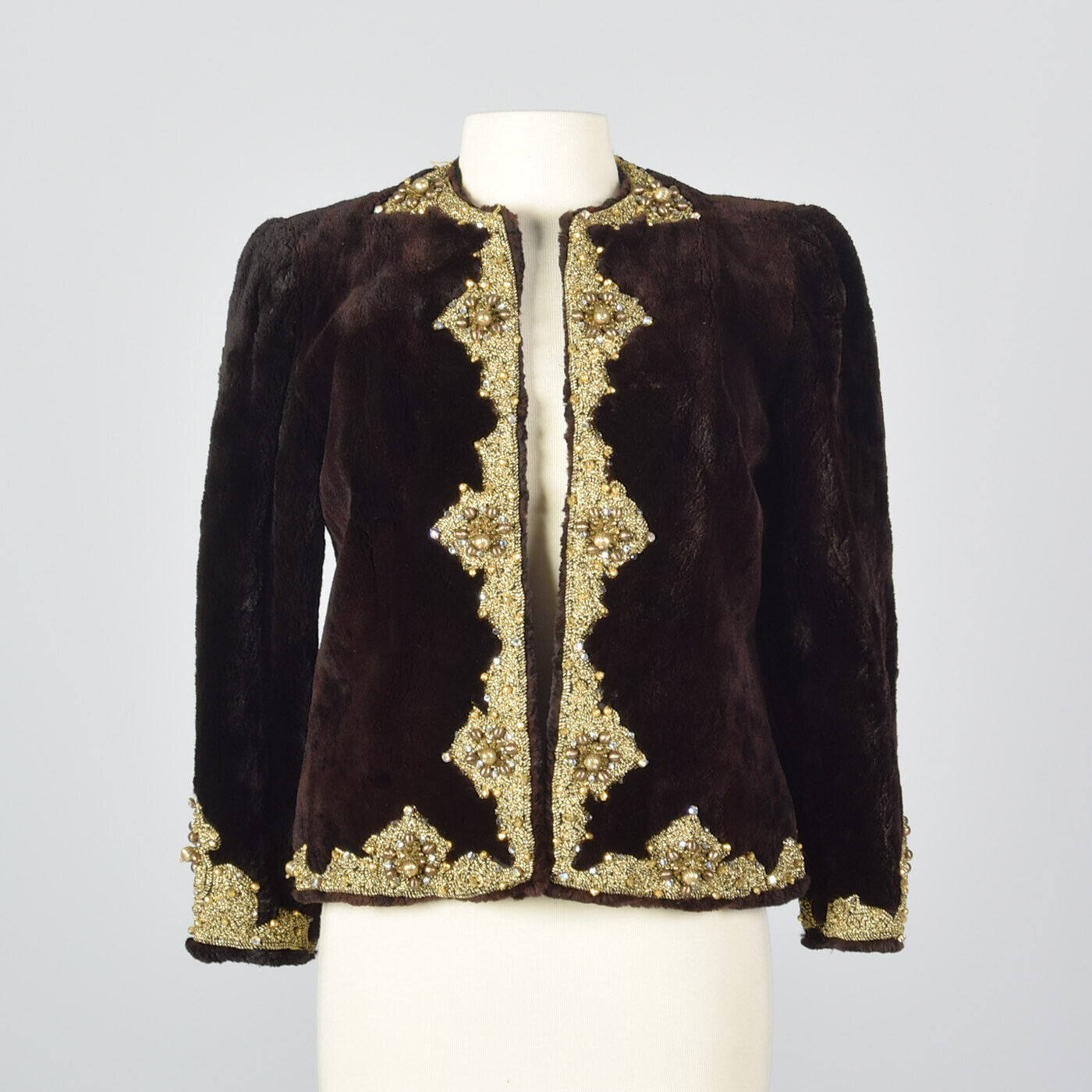 Oscar de la Renta Formal Evening Jacket Sheared Fur Beaded Bolero Vintage 1970s
