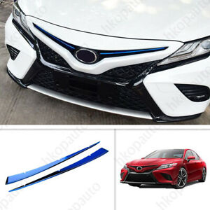 For 2018 2019 Toyota Camry Blue Stainless Front Center Grill Grille Cover Trim