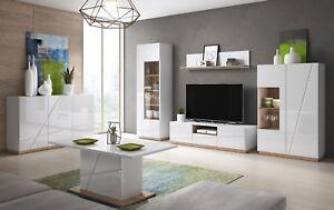 Wohnzimmer Komplett Set Sideboard Highboard Lowboard Regal Weiß ...