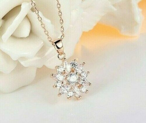 ROSE GOLD Plated White Multicoloured Crystal CZ Flower Necklace Earrings UK