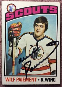 SIGNED-WILF-PAIEMENT-1976-77-Topps-37-Card-EX-NM-Kansas-City-Scouts