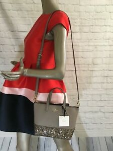 35b2fc04e61 Details about NWT Authentic KATE SPADE Small ina Greta Court NEW 10/2018  Glitter tote 3 COLORS