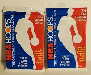 1989-1990-NBA-Basketball-Hoops-Sealed-Unopened-Pack-of-Trading-Cards-LOT-OF-2