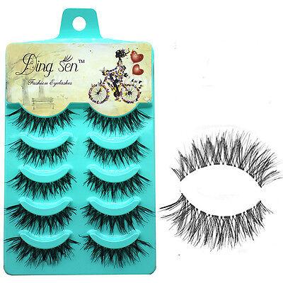 5 pairs Handmade false eyelashes popular messy natural paragraph eye lashes  J