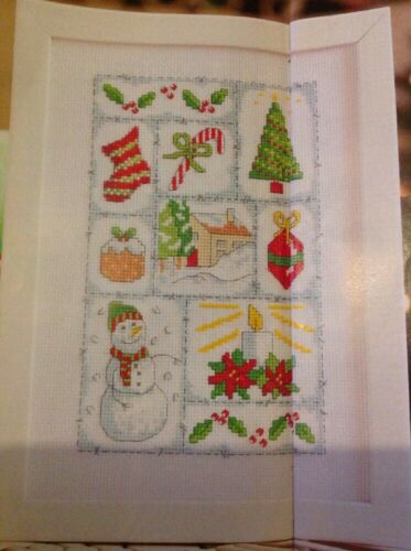 Festive Sampler Tree Candle Snowman Stocking Christmas Cross Stitch Chart X