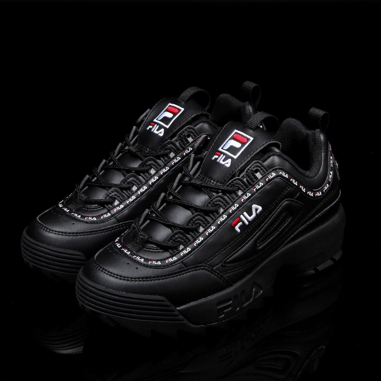 Fila Disruptor II 2 Noir Tapey Tape Chaussures Unisexe Taille UK 3-9 FS1HTA3092X_BBK