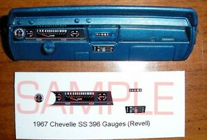 1967 CHEVELLE SS 396 GAUGE FACES! - for 1/25 scale REVELL KITS