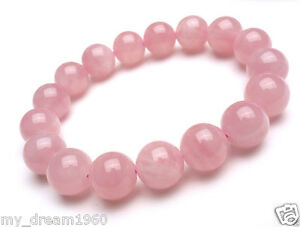 Natural-10mm-Pink-Rose-Quartz-Crystal-Round-Gemstone-Stretch-Bracelet-Bangle