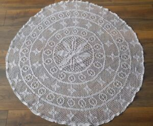Large-White-Round-Vintage-Hand-Crochet-Lace-Tablecloth-Cotton-Doily-Topper-44-034