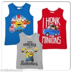 Boys Despicable Me Minions TShirt Tee Top Grey Blue Minion Kids Childrens Childs