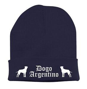 Beanie-Strickmutze-Mutze-Stickmotiv-BAD-DOGO-ARGENTINO-Hunde-Siviwonder