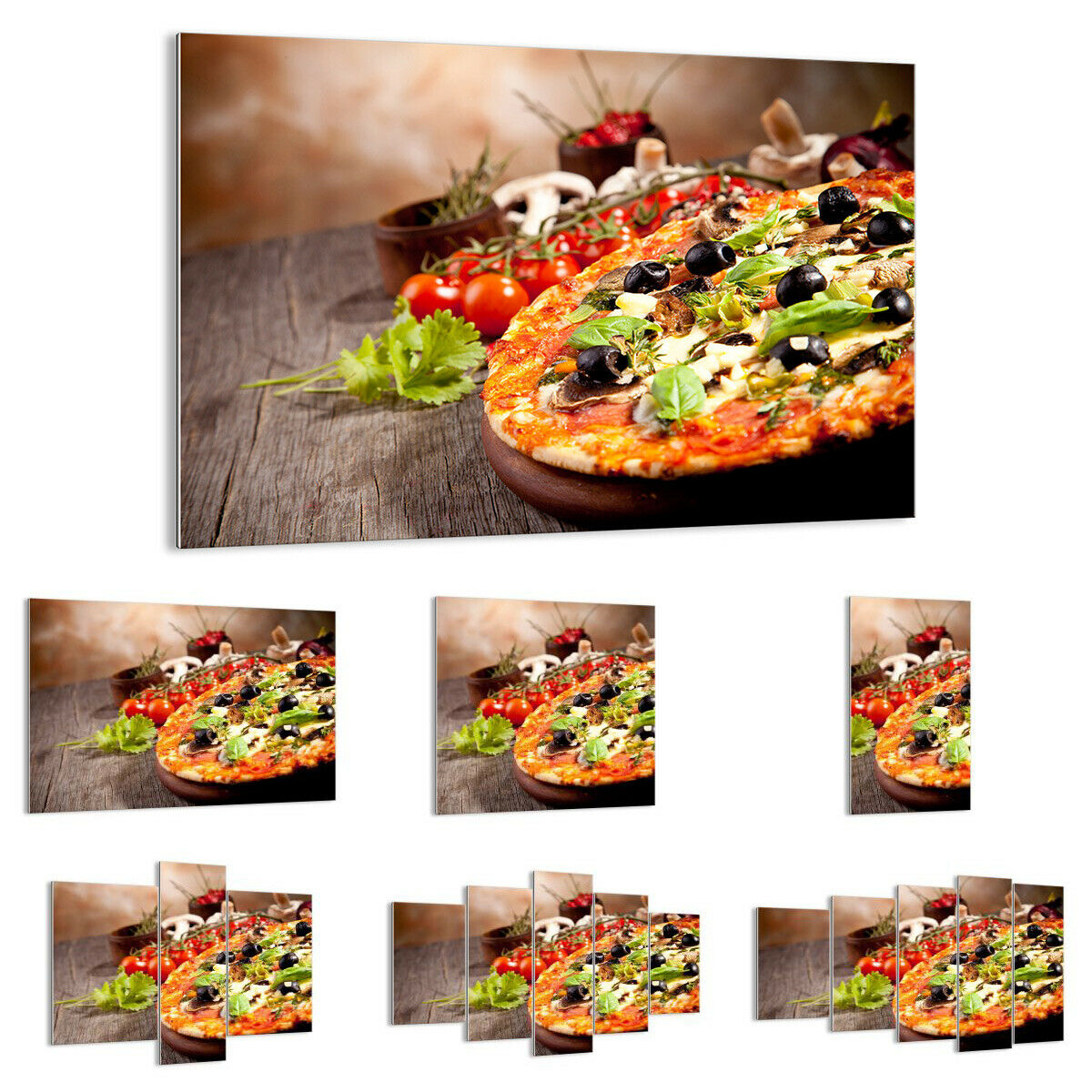 GLASBILD Wandbild Deko Pizza Essen Italien Tradition 2791 DE