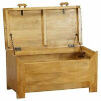 Homescapes Dakota Solid Mango Hardwood Furniture Ottoman Blanket Box Oak Wood