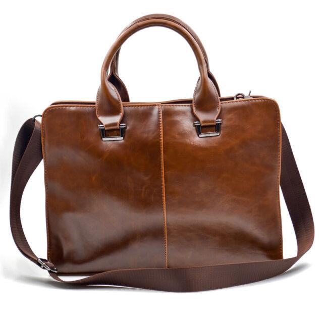 Travel Business Package Mens Leather Briefcase Laptop Bag Shoulder Work