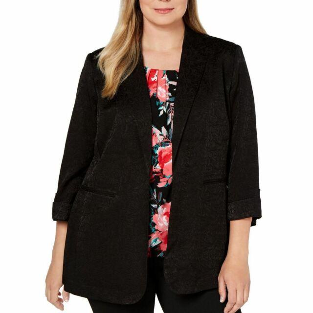 CALVIN KLEIN Women's Plus Size Floral-embossed Lined Blazer Jacket Top 24W TEDO