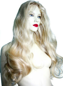 HUMAN-HAIR-Indian-Remi-Remy-Full-Lace-Wig-Wigs-Light-Blonde-Color-60-Body-Wave