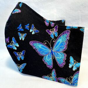 Designer Butterfly Metallic Fabric Face Mask Filter Pocket Handmade Cotton Cover Ebay