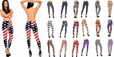 Lot Women Leggings Skinny Tight Jeggings Pants Tatto Print Colorful O//S