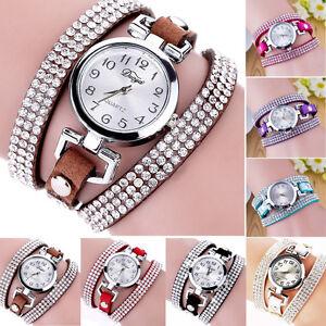 Damen-Armbanduhr-Wickelarmband-Quarzuhr-Oval-Strass-Analog-Lederband-Geschenk