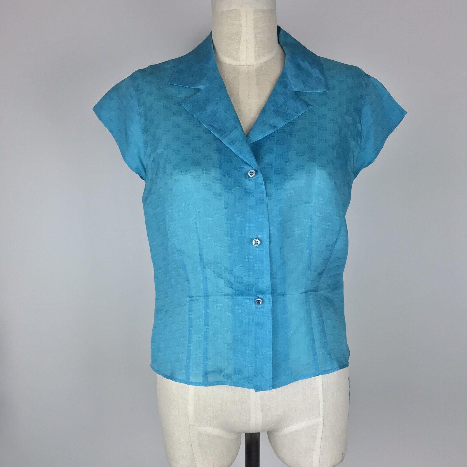 Gianfranco Ferre Studio Silk Taffeta Semi Sheer Blouse Size 8 bluee Short Sleeve