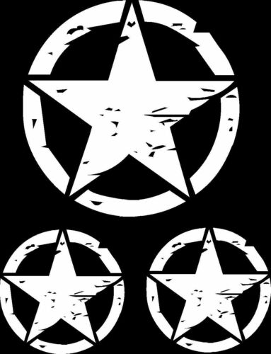 Set of 3 Distressed Military Star Decals Hood /& Doors Die Cut Vinyl US Seller