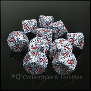NEW 10 D10 Granite Gray White Speckled w Red RPG D&D Game Dice Set in Tube D10s