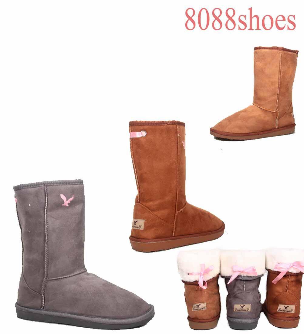 Women's Flat Fur Heel Round Toe Faux Fur Flat Mid Calf Winter Boots Grey Camel Size 6 & 8 eaa167