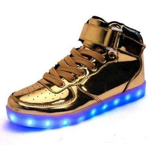 Men Strap High Top Sneakers LED Light Luminous Sports Lace Up GoldSilver Shoes
