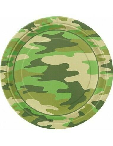 ext Camouflage Army Plates or Military Birthday Party Decorations Balloons