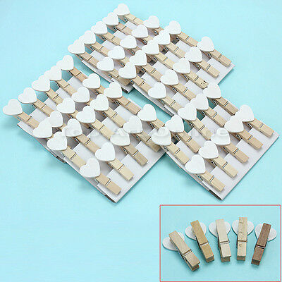 50Pcs Mini Wooden White Heart Pegs Photo Paper Clips Wedding Decor Craft Gifts