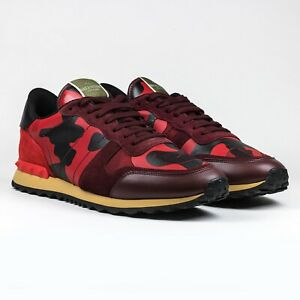Rockstud red suede leather camo runners