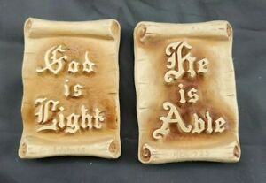 Two-Religions-Wall-Hangings-By-Larson-1937-amp-1938-Ceramic-Vintage-Art-3-25-034-Tall