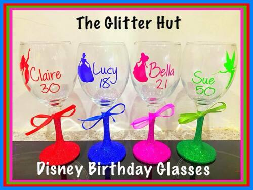 BIRTHDAY GIFT Personalised Disney Wine Glass 18th 21st 30th 40th 50th present